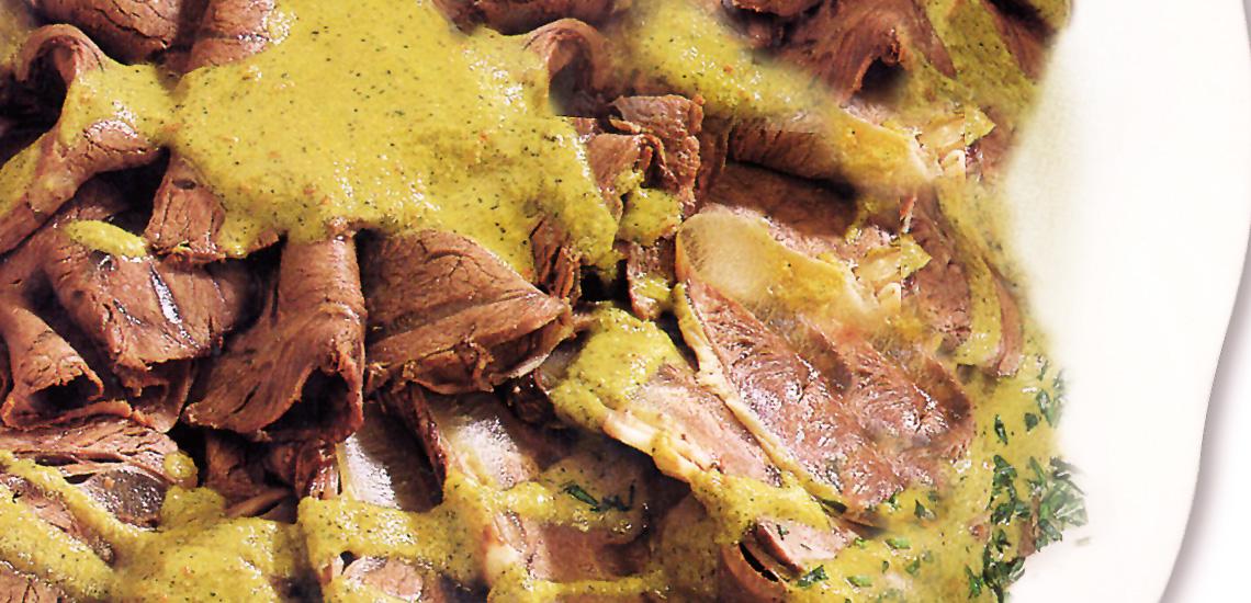 Arrosto di agnello freddo in salsa verde