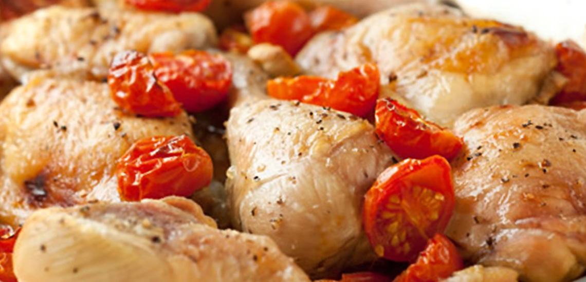 Pollo e pomodori fritti