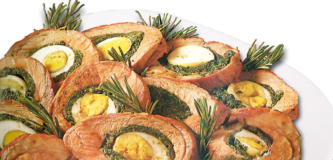 Rollè di suino al forno con le erbe