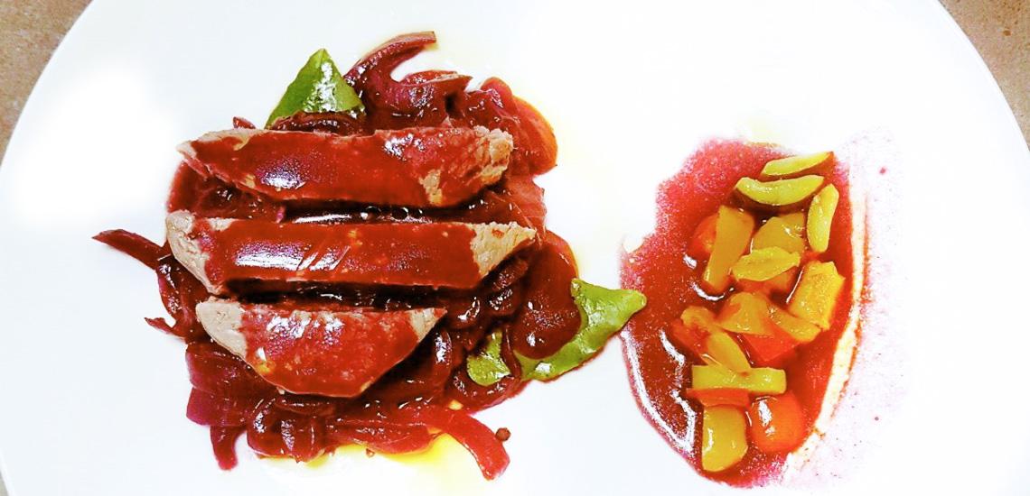 Filetto CLAI con caramellata di cipolla rossa di Acquaviva in riduzione di Sangiovese Superiore di Mirco Paltrinieri
